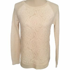 Cloud Chaser Lace Front Pullover Sweater S